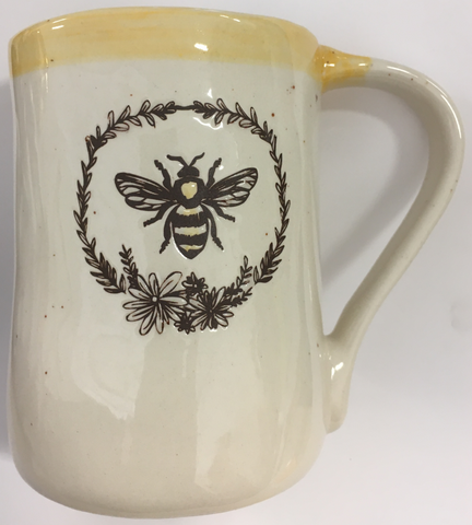 Cup Mug Bee Ceramic Embossed