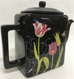 Tea Pot Black Floral