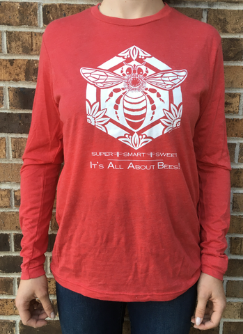 Apparel Long Sleeve Crew Tee Bee Super, Smart, Sweet Red