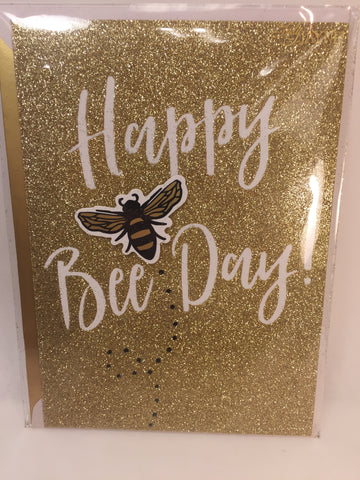 Gold Glitter Bee Day Greeting Card