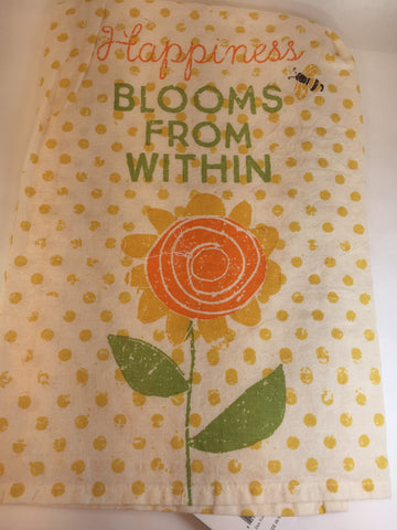 Flour sack dish Towel- Happiness Blooms from within