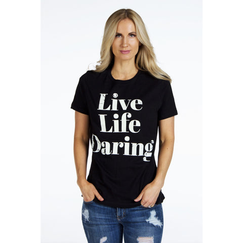 Relaxed Jersey Short Sleeve Signature Tee | LIVE LIFE DARING | SIGNED NOELLE - DARING Collection by Noelle Nieporte  - 1