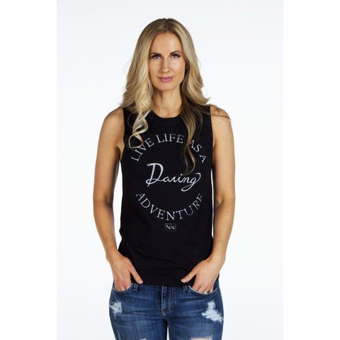Jersey Muscle Tank | LIVE LIFE AS A DARING ADVENTURE | SIGNED NOELLE - DARING Collection by Noelle Nieporte  - 1