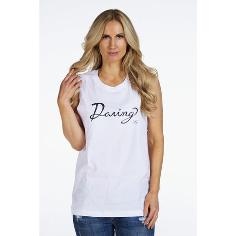 "Cursive Muscle Tank ""DARING"" by SIGNED NOELLE - DARING Collection by Noelle Nieporte  - 1"