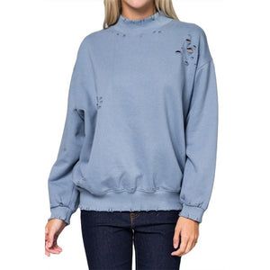 Shredded Distressed Sweatshirt | Signed Noelle | - DARING Collection by Noelle Nieporte