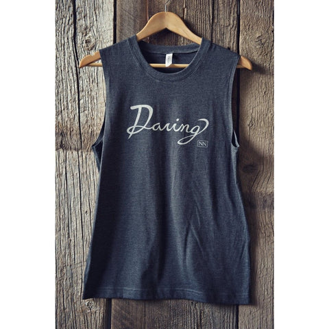 "Cursive Muscle Tank ""DARING"" by SIGNED NOELLE - DARING Collection by Noelle Nieporte  - 5"