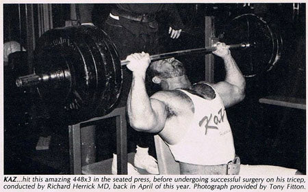 448 lbs for 3 reps - Seated Press - Bill Kazmaier