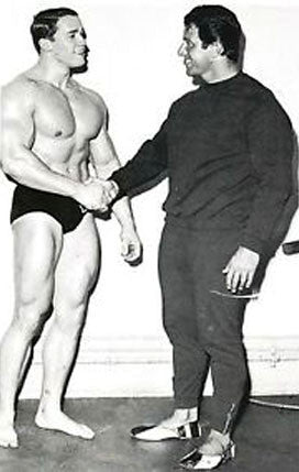 Young Arnold Schwarzenegger meets his idol Reg Park