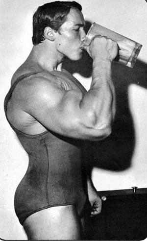 Arnold Drinking a Protein Shake