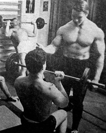 Young Arnold Schwarzenegger Gym Coaching in 1967