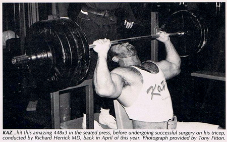 Bill Kazmaier - Seated Barbell Press - 448 lbs for 3 Reps
