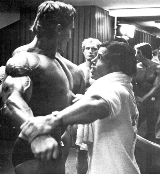 Franco Columbu helping Arnold prepare for the 1980 Mr Olympia Contest