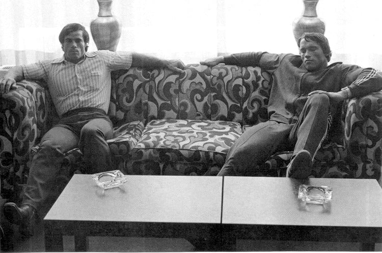 Franco and Arnold Resting up - RIP Franco Columbu
