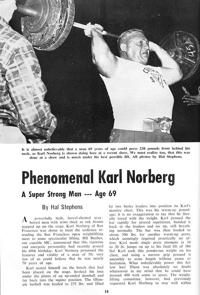 Karl Norberg - A Super Strong Man - Age 69 - Article 1