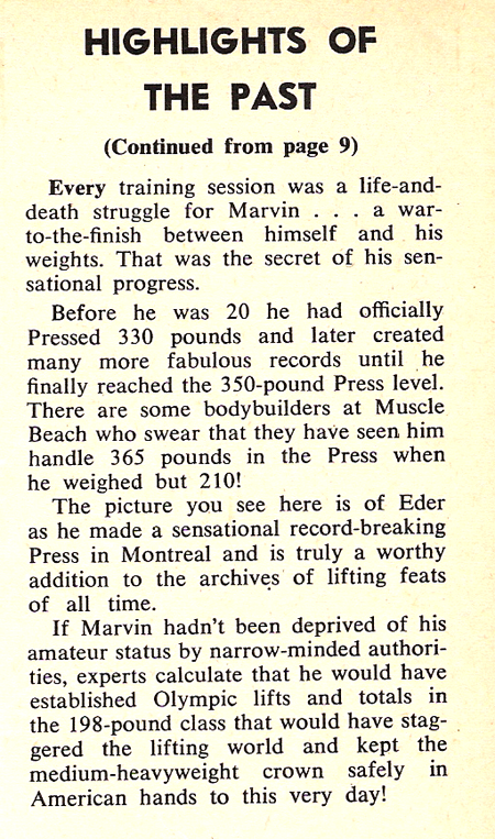 Marvin Eder - Incrediable Pressing Strength Article