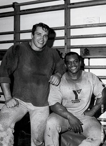 Young Arnold and Sergio Oliva at the Duncan YMCA in Chicago
