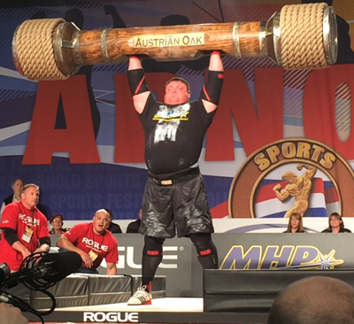 Zydrunas Savickas Lifting the Austrian Oak at Arnold Strongman Classic