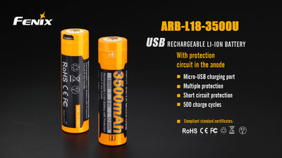 Fenix 3500Mah 18650 USB Battery - Ultimateairsoft fun guns cqb airsoft