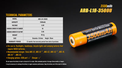 Fenix 3500Mah 18650 USB Battery