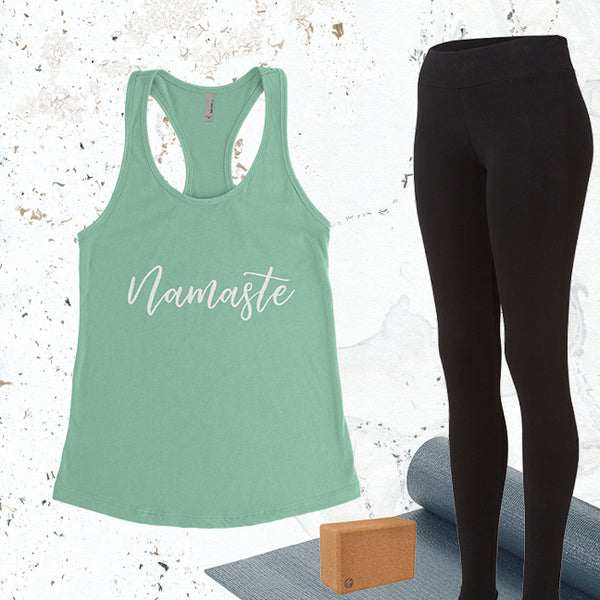 Namaste - Mint - White Letters - Fitness Workout Tank - Motivation