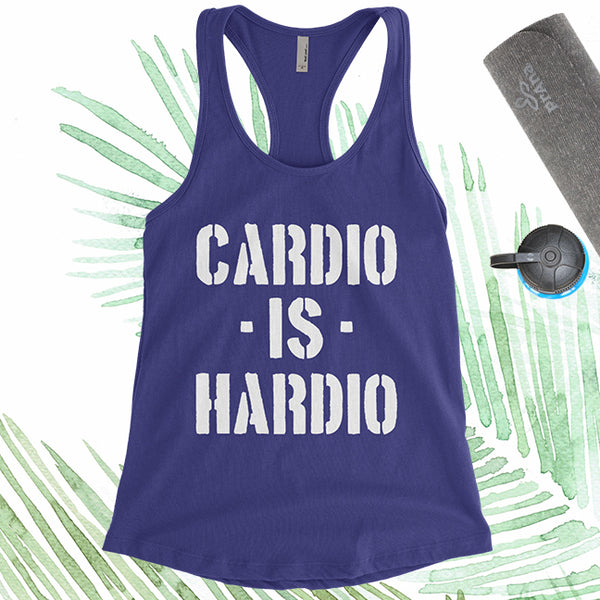 Cardio Is Hardio - White Letters - Fitness Workout Tank - Motivation