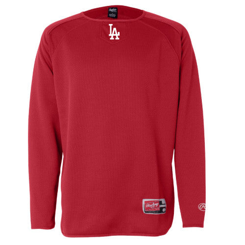 L-A Rawlings - Red Long Sleeve Flatback Mesh Fleece Pullover - 9705