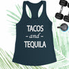 Tacos and Tequila - Indigo Blue - White Letters - Fitness Workout Tank - Motivation