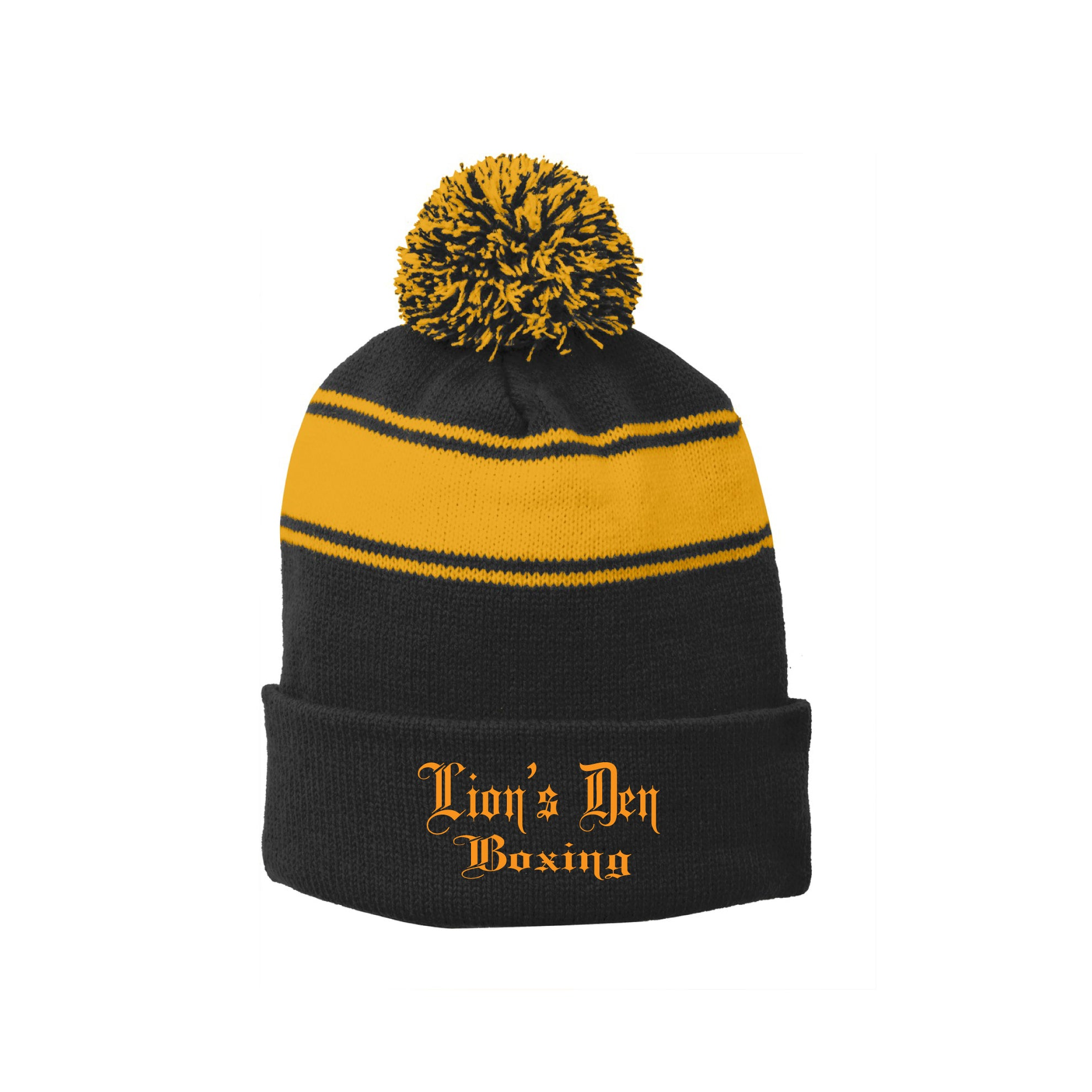 Lion's Den Boxing - Sport-Tek® Stripe Pom Pom Beanie - Embroidered