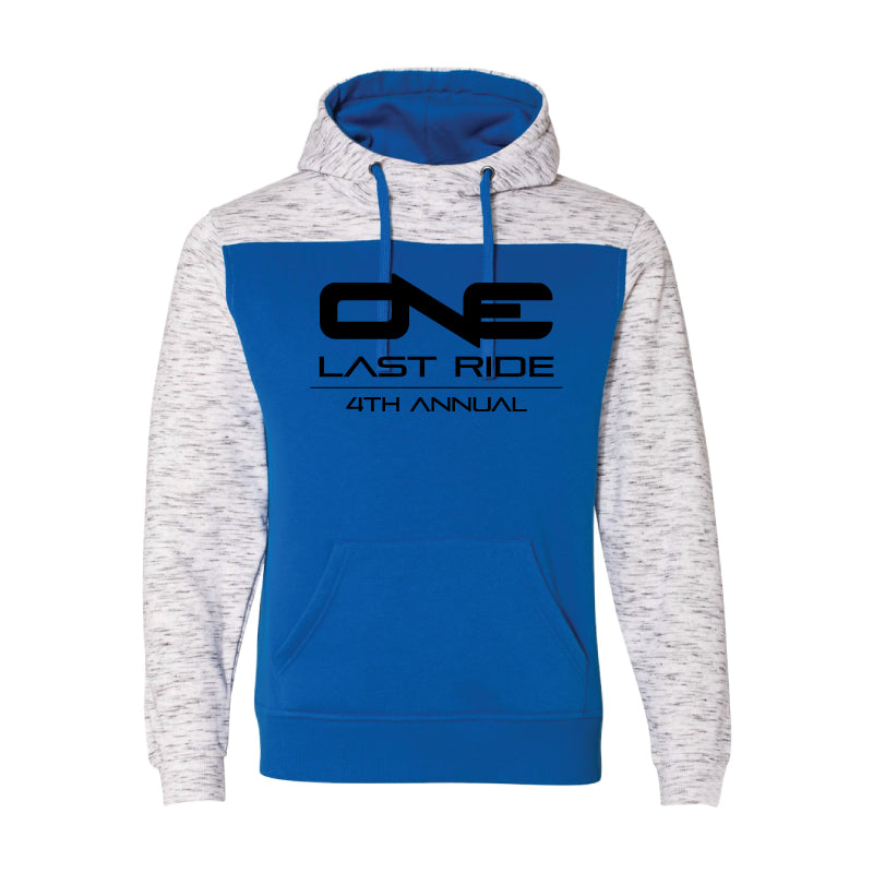 One Last Ride - J. America - Melange Fleece Colorblocked Hooded Pullover - Blue