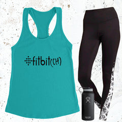 Fitbit(ch) - Tahiti Blue - Black Letters - Fitness Workout Tank - Motivation
