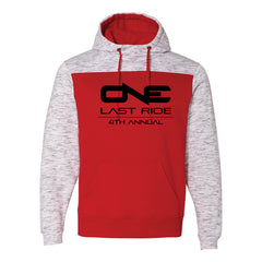 One Last Ride - J. America - Melange Fleece Colorblocked Hooded Pullover - Red