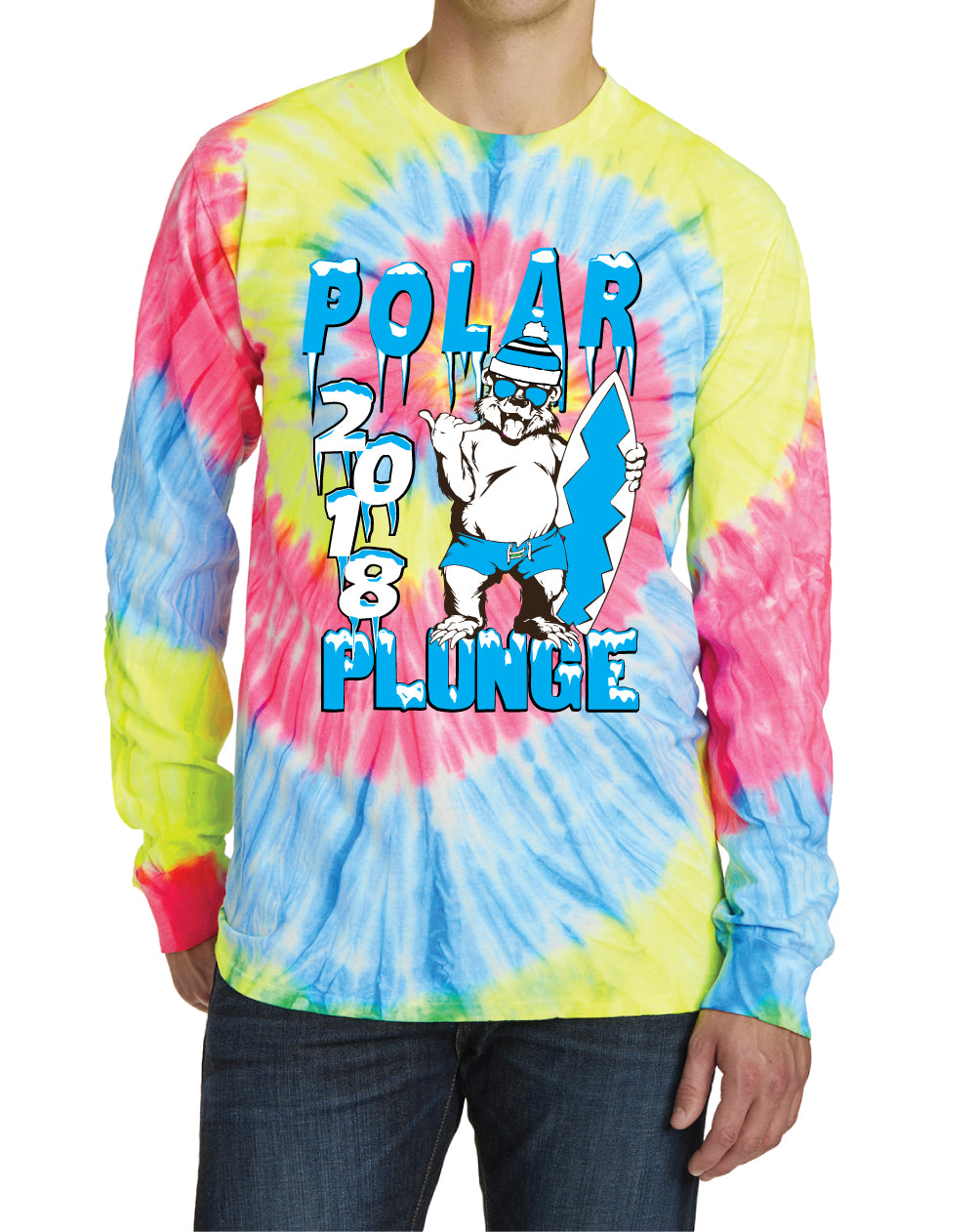 2018 POLAR PLUNGE LONG-SLEEVE TROPICAL TIE-DYE TEE