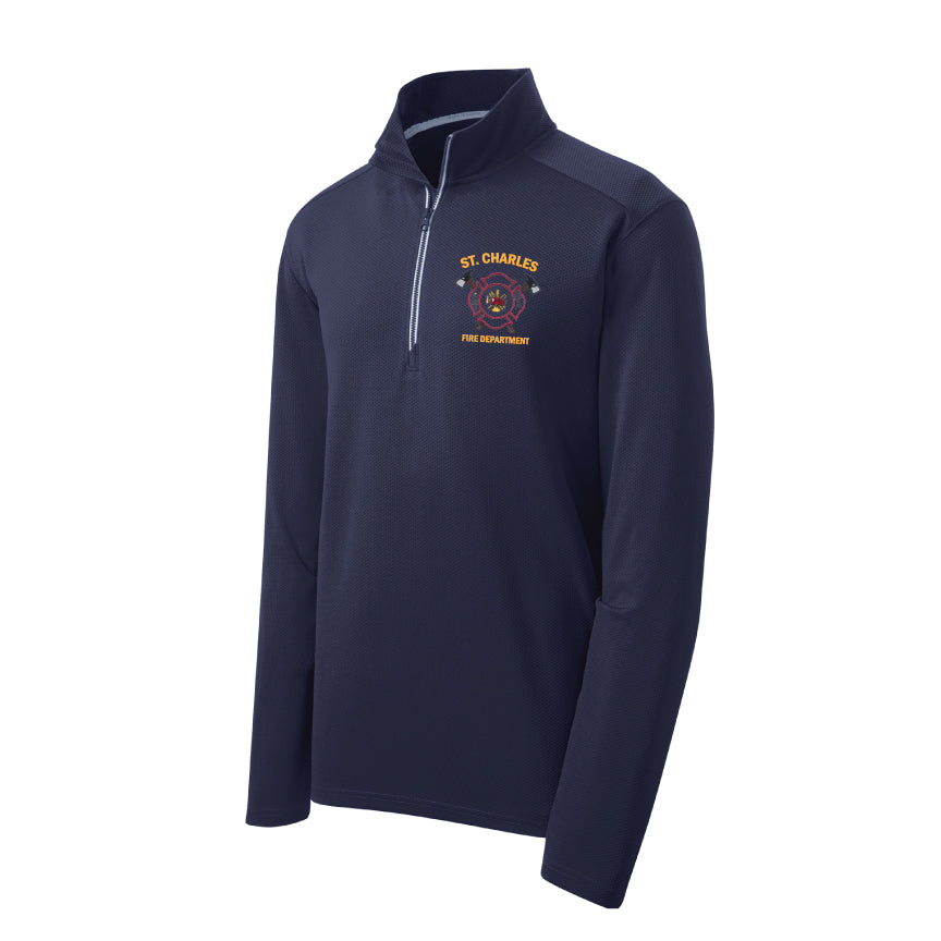 St. Charles Fire - Sport-Wick® Textured 1/4-Zip Pullover - Navy