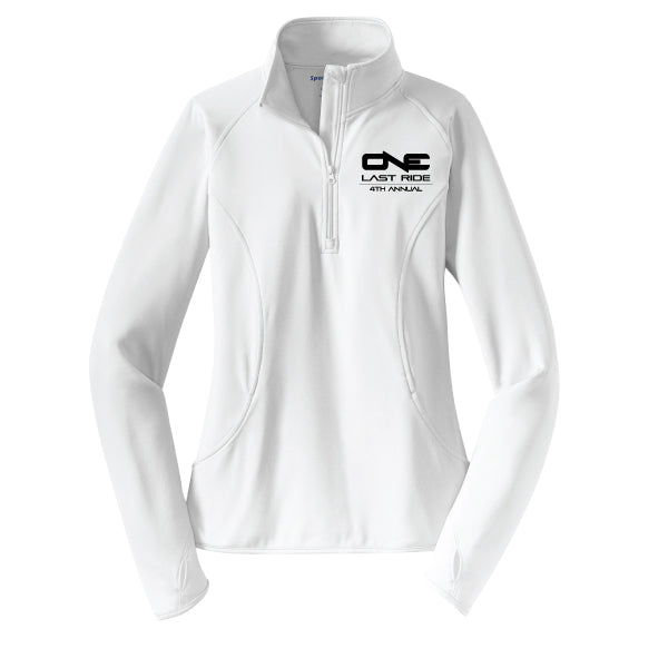 One Last Ride - Sport-Tek® Ladies Sport-Wick® Stretch 1/2-Zip Pullover - White