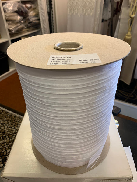 26mm wide, 2.0:1 fullness, double pleat tape - Sold by the roll