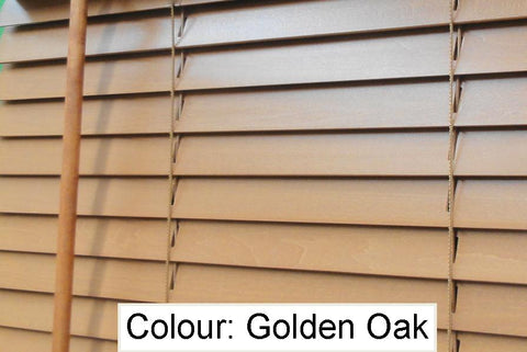 Basswood Venetian Blind - Golden Oak 50mm