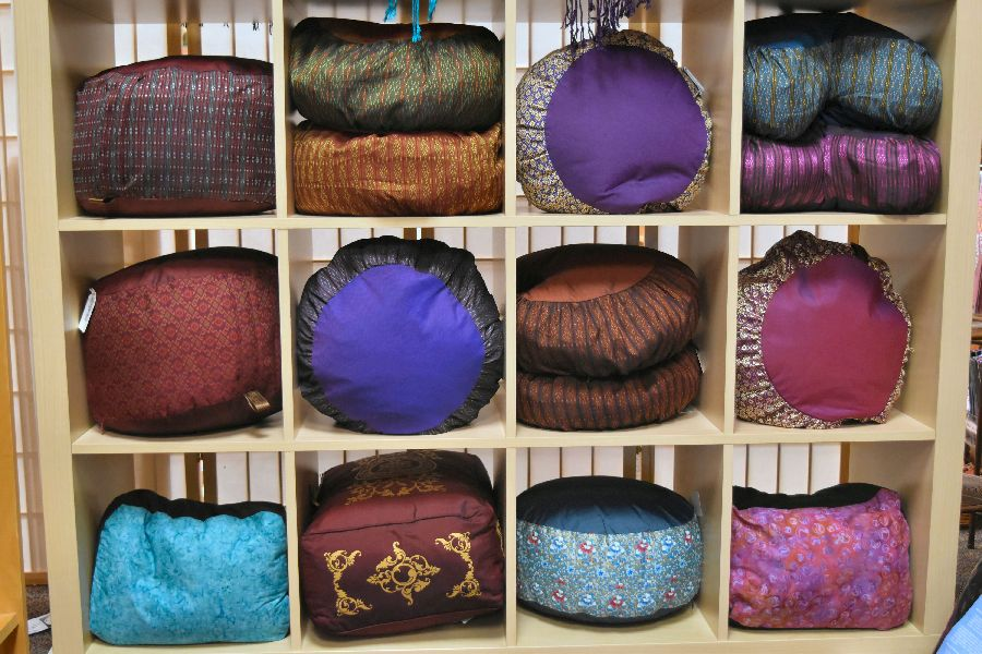 Meditation cushions and benches at East West Bookshop!