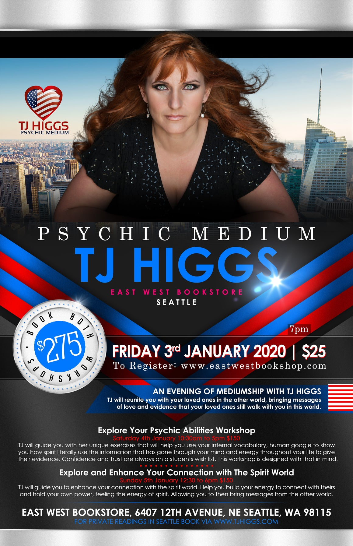 January 03, 2020 - Friday 7-9pm - An Evening with Psychic Medium TJ Higgs - with TJ Higgs