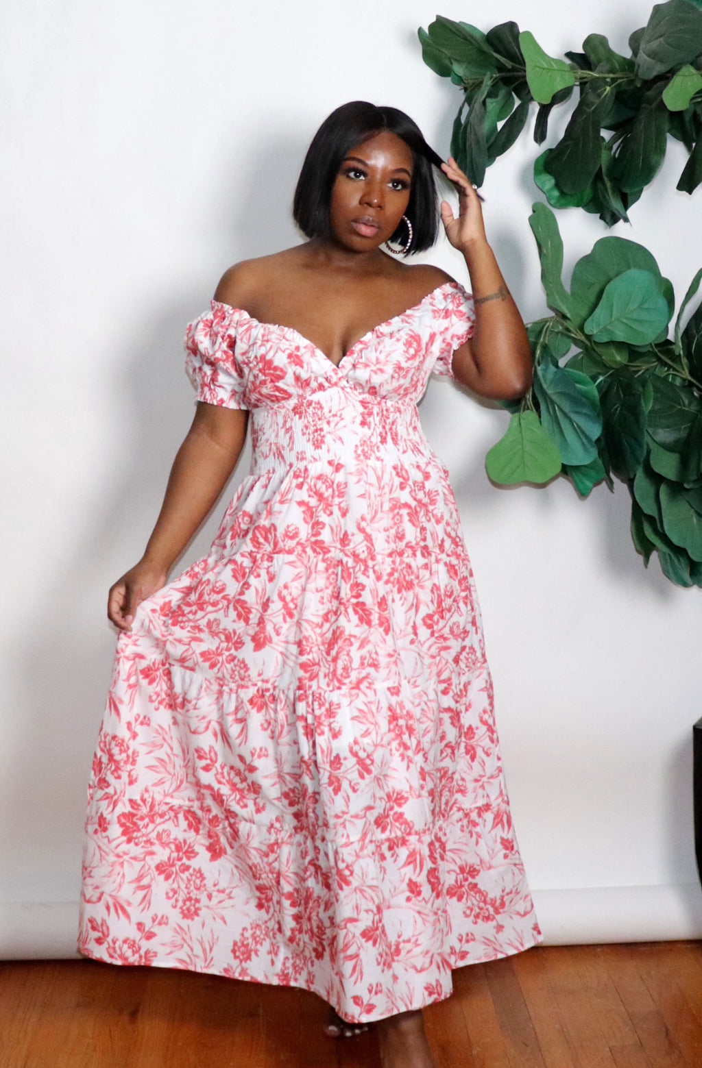 Blooming Love |Off Shoulder Maxi Dress
