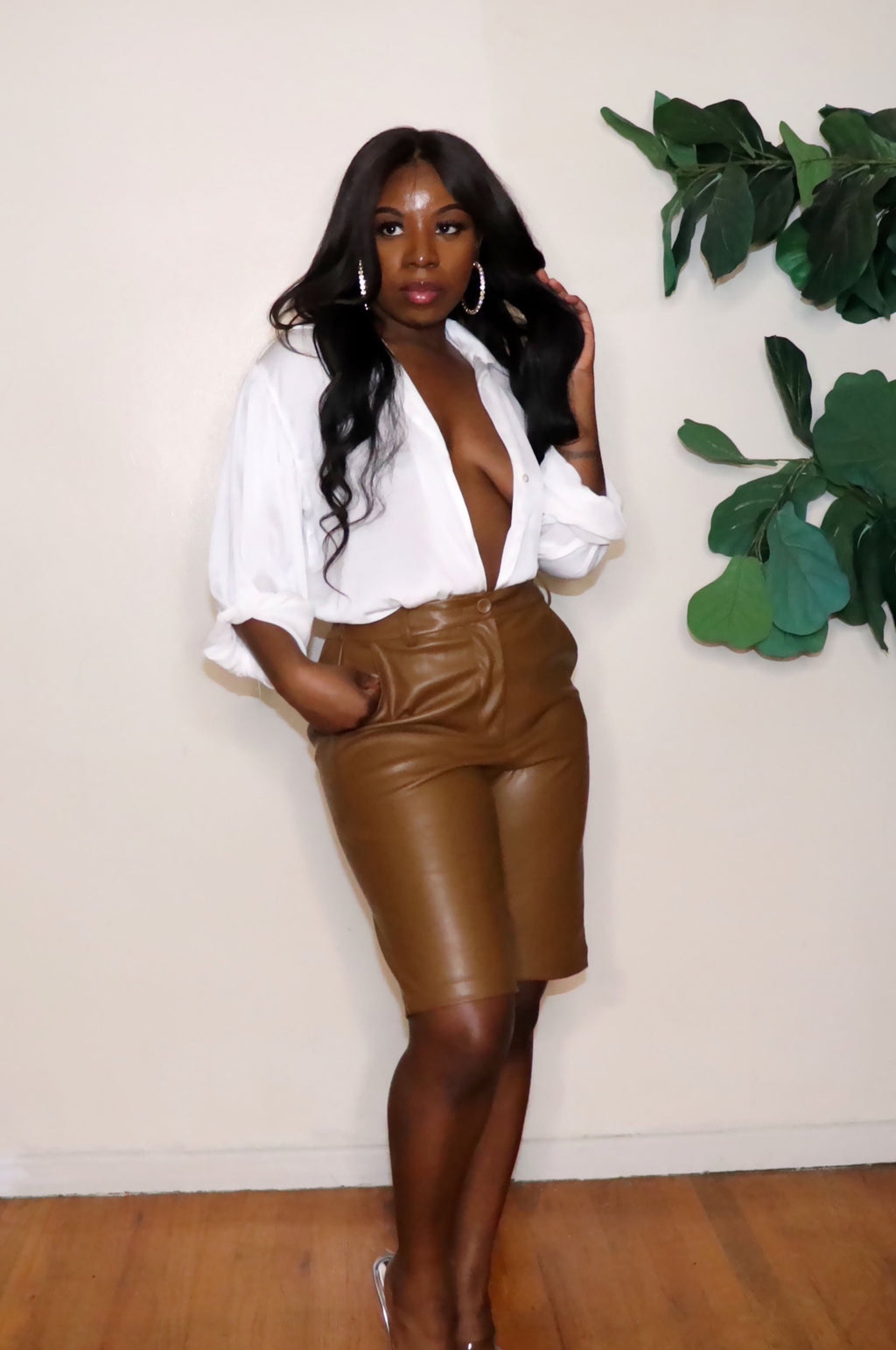 Mocha | Vegan Leather Bermuda shorts