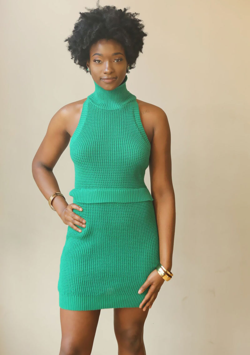 Emerald Green Knit Dress. - Mixed Emotions Boutique