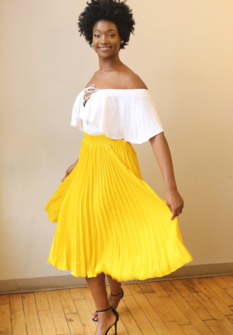 Honey Yellow Pleated Maxi Skirt. - Mixed Emotions Boutique