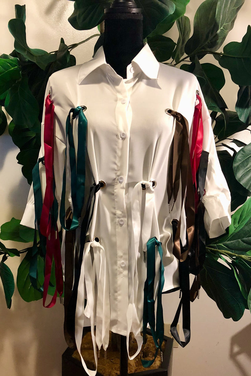Satin Strings Button-down Blouse - Mixed Emotions Boutique