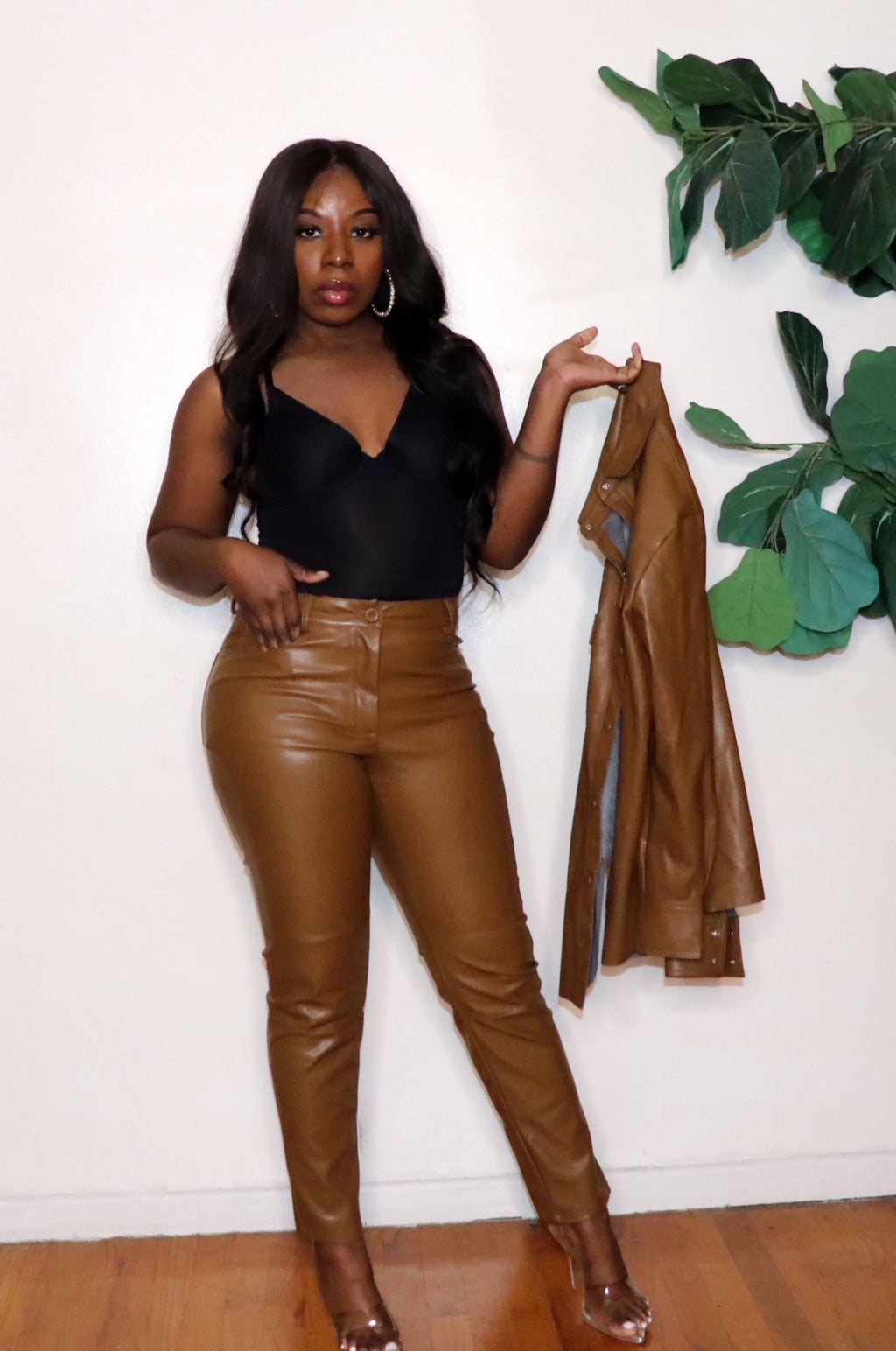 Mocha |Vegan Leather Pants