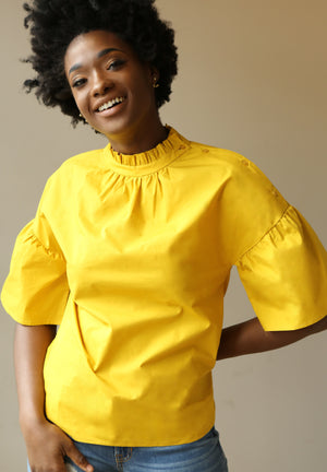 Mustard Rue Ruffle Neck & Sleeves Top. - Mixed Emotions Boutique