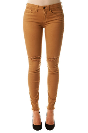 Mustard Knee Distressed Denim - Mixed Emotions Boutique