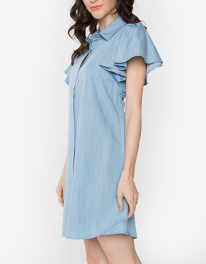Chambray Shirt Dress - Mixed Emotions Boutique