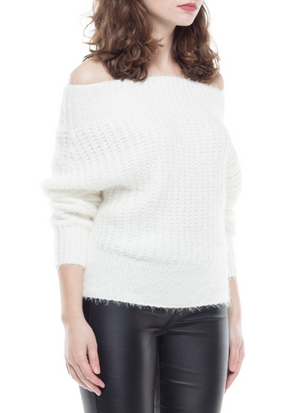Off Shoulder Plush Sweater - Mixed Emotions Boutique