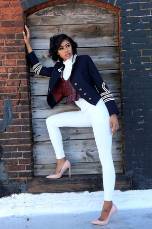 Navy Military Jacket - Mixed Emotions Boutique