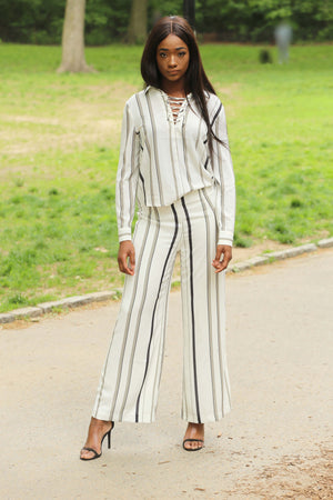 Stripe Wide-leg Pants - Mixed Emotions Boutique